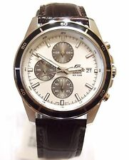 Casio Edifice Analog Chronograp Brown Leather Band EFR-526L-7 White Watch New !!