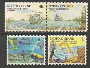 Norfolk Island #471-474a (A108) VF MNH 1990 - 41c to $1 Wreck Of H.M.S. Sirius