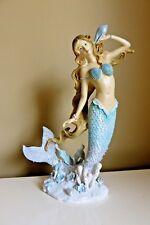 Mermaid With Seashell Figurine Decor New 12 in. Resin Ocean Coral Mermaids New