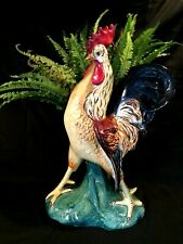 """LE 19th C Barbotine Style Faience Majolica Rooster w Vase 19"""" T Italy Repaired"""