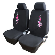 4PCS Universal Pink Flower Embroidery Car Seat Cover Seat Protector Interior