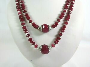 """Ruby  double strand beaded necklace 20mm large faceted stones. 18-20"""" Handmade"""