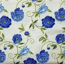 ROSES BLUE 4 single COCKTAIL SIZE paper napkins for decoupage 3-ply