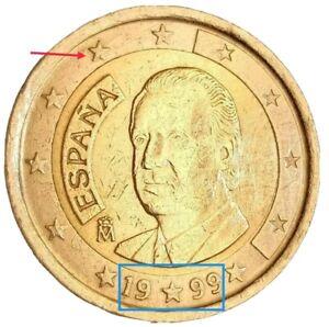 Pièce 2 euros année 1999 premier édition très rare faute gros l'étoi* de ESPAGNE