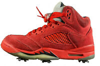 Nike Air Jordan 5 Retro GS- Youth- Size 6.5Y- Red Suede- Golf Shoes Golf Spikes