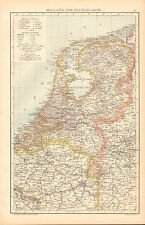 1893 ANTIQUE MAP - HOLLAND (THE NETHERLANDS)