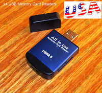 4x USB Metal CASE ALL-in-1 Memory Card Reader - Micro SD/MMC/SDHC/TF/M2/MS - USA