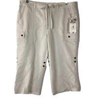 Caribbean Joe Women's Cropped Pants Roll Tab Khaki Size 14 6 Pockets Zipper NWT