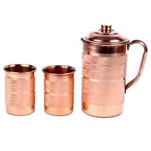 100% Pure Copper Jug & Glass with Lid for Ayurvedic Health Benefits,Set 2 Glass