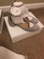 Chloe Lauren Scalloped Suede Ankle-Strap Pump Gray Women's size 37.5 $695+tax
