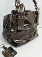 "Tignanello satchel choco brown leather handbags 7.5x11""x6.5""(depth)"