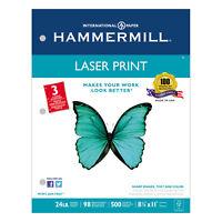 Hammermill Laser Print Office Paper 3-Hole Punch 98 Brightness 24lb Ltr White