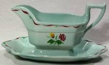 Adams Calyx Ware ALLEGRO Gravy Boat Attached Plate Black Makers Mark