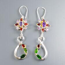 Handmade Natural Amethyst 925 Sterling Silver Earrings /E35619