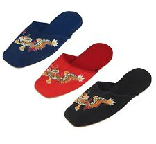 Handmade Embroidered Dragon Chinese Women's Cotton Slippers Red Black Blue New