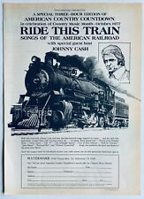 JOHNNY CASH 1977 POSTER ADVERT RIDE THIS TRAIN Songs of the American Railroad