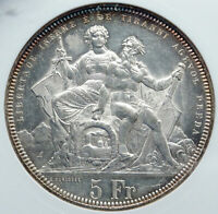 1883 SWITZERLAND ANTIQUE SHOOTING FESTIVAL Swiss Silver 5F Coin ANACS i86940