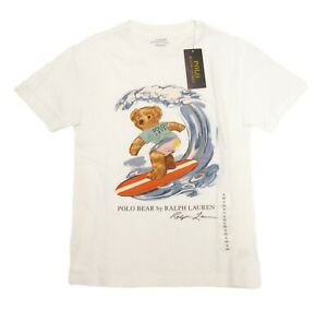 Polo Ralph Lauren Boys White Surf Polo Bear Graphic Short Sleeve T-Shirt