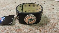 Miami Dolphins Black Leather Studded Cuff Bracelet Ladies NFL