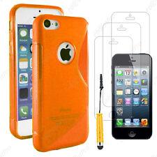 Coque SiliconeS-line Orange Apple iPhone SE 5S 5+Mini Stylet+3 Film écran