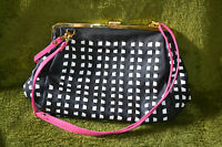 South Moon Under Black & White with Pink Strap Leather Purse Handbag