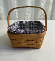 """Longaberger Medium Berry Basket With Protector, And Plaid Liner 7.5""""x7.5""""x3.5"""""""