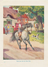 Dapple Gray Pony Horse Boy Pit Bull Terrier Dog Pets Vintage Art Print 1922