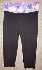 PINK YOGA Black Palm Tree / Embellished Stretch Cotton Crop Leggings Women's XS