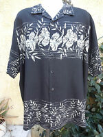 Men's Hawaiian Shirt  XL 100% Silk 6A Black Floral A9