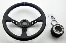 Mazda Miata 35cm JDM SPORT Blue Dish Steering Wheel w/ Boss Kit Hub Adapter