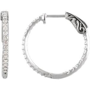 Diamond Inside/Outside Hoop Earrings In Platinum (3/4 ct. tw