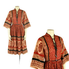 Vintage 70s Star of India Cotton Hippie Boho Fan Sleeve Ethnic Festival Dress