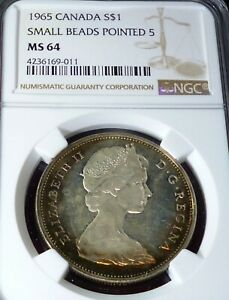 1965 CANADA SILVER DOLLAR NGC  MS64- LOVELY TONED  COIN - SMALL BEADS POINTED 5