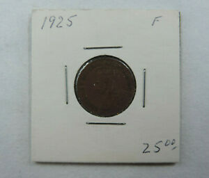 1925 1 Cent Coin Canada George V One Cent F Grade Small Cents Semi Key Date