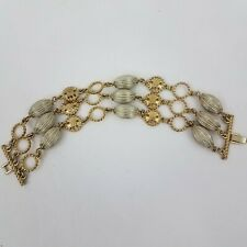 Monet Bracelet Gold Tone Gray Silver Multi Strand Beaded Art Deco Vintage
