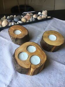 3 Exclusives Rustic Wood Candle Holder Centrepiece Tea Light Home Decor Handmade