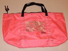 Victoria's Secret Sport Hot Pink Large Duffel Gym Tote Bag ~ Silver Graphics