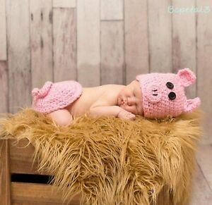 Newborn Baby Crochet Knit Pig Costume Hat+Pad Cover Photography Prop Outfits