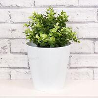 3 x 18cm White Round Indoor Plant Flower Pots Vases Covers Troughs Planters