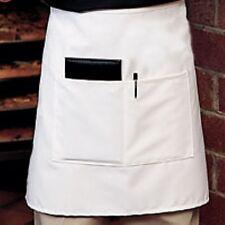 Fame Fabrics E28 White HALF BISTRO APRON 2 HAND POCKET CHEF COMMERCIAL QUALITY