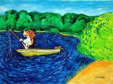 Beagle Fishing Dog Art Print Picture 8x10 artwork reproduction artist
