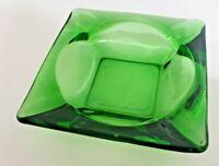 Vintage Square Green Ashtray Colored Glass MCM 70's 80's Cigarette Man Cave