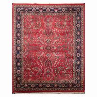 "7'9"" x 9'9"" Hand Knotted 100% Wool Indo Saroukk 200 KPSI Area Rug Rose 8x10"