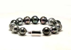 "11X12MM - 13X14MM Multi Color Baroque Tahitian Pearl Bracelet, 14K Clasp, 8"""