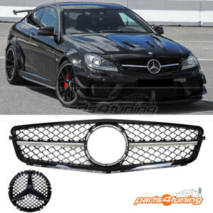 MERCEDES BENZ C-CLASS W204 2007-2015 FRONT GRILLE CHROME GLOSS BLACK AMG STYLE