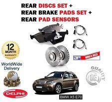 FOR BMW X5 E70 3.0 TD 2007-4/2009 REAR BRAKE DISCS SET & DISC PAD + SENSOR LEAD