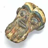 Glass Anthropomorphic Face Bead Mediterranean Pendant Antique Artifact Style Old
