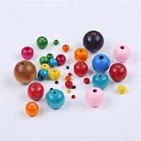 200pcs Round Colorful Mix Wood Spacer Beads Fit DIY Bracelet Necklace 5 Size