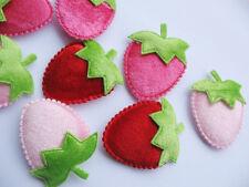 30 Padded Velvet Strawberry Appliques/trims -3 Colors FT015