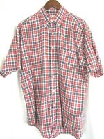 Brooks Brothers Mens Short Sleeve Button Front  Camp Shirt Large Plaid Colorful